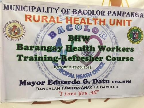 Barangay Health Workers Training - Refresher Course October 28-30, 2019